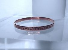 "Lovely Handmade Copper Personalise Inspirational ""if you dream..."" Bangle"